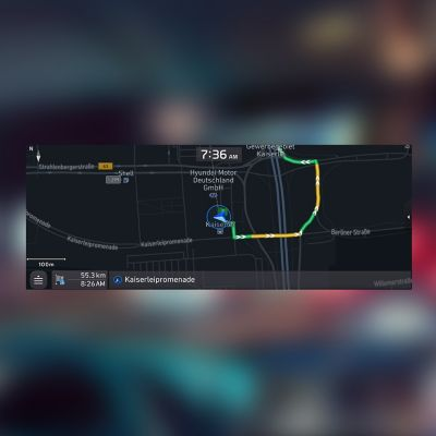 Screenshot of the Hyundai Navigation System with Connected Routing.