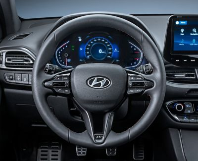 Close-up of the leather steering wheel in the new Hyundai i30 N Line Fastback